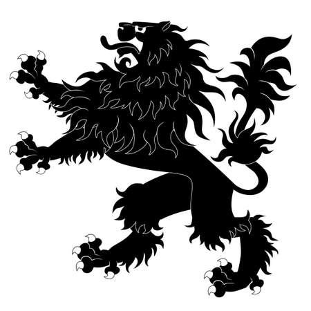 Black heraldic lion Vettoriali