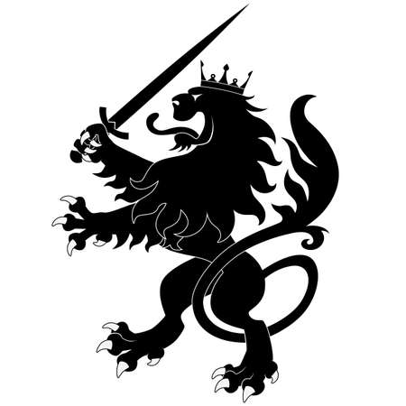 Black heraldic lion with sword on white background Vectores
