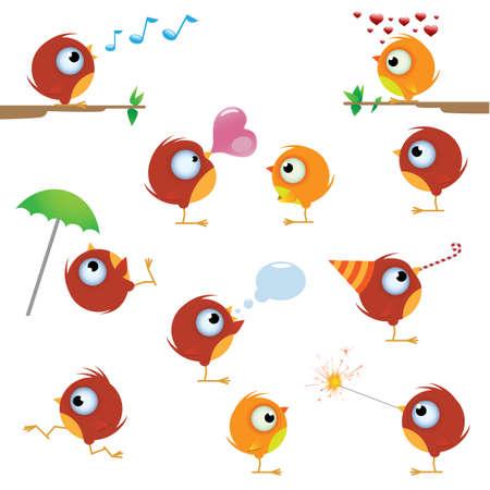 Funny cartoon canaries bird set Vettoriali