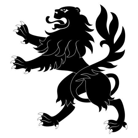 Black heraldic lion on white background