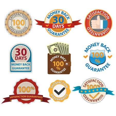 best price: Money back and Satisfaction guarantee labels Illustration