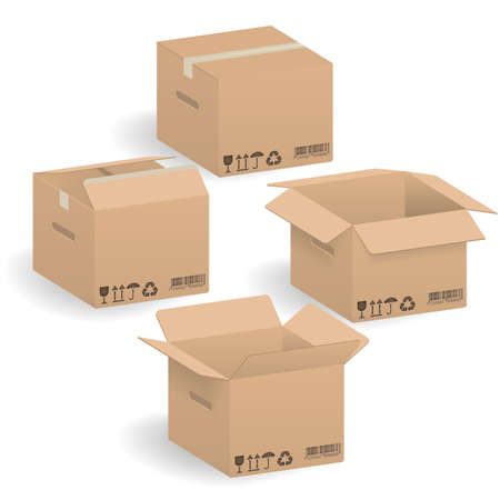 Closed and open Cardboard boxes
