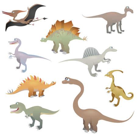 恐竜セット、ベクトル イラスト