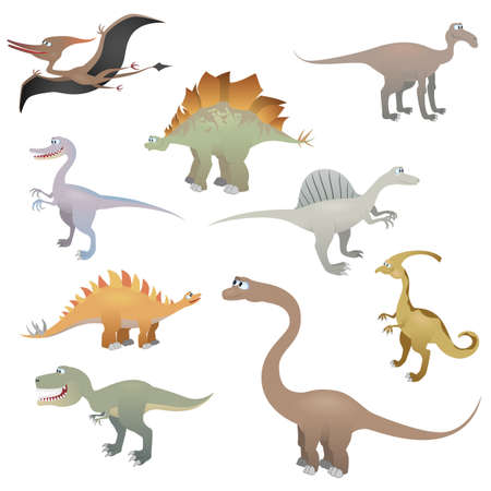 dinosauro: Dinosaur set, illustrazione vettoriale Vettoriali