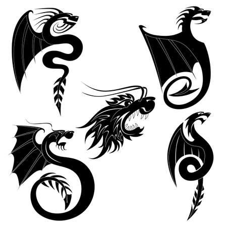 tatouage dragon: Noir de tatouage de dragon ensemble Illustration