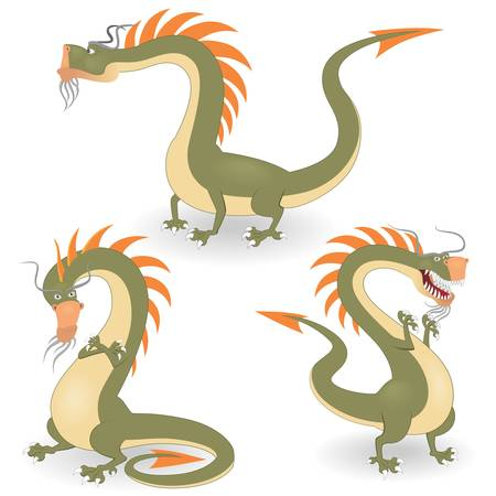 Cartoon dragons set Vector