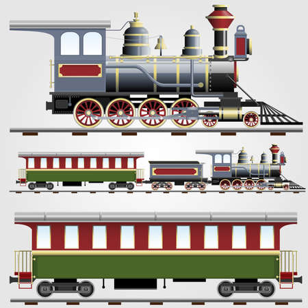 locomotive: Retro steam train with coach