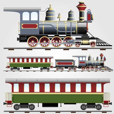 Train à vapeur rétro avec l'entraîneur Banque d'images - 12302191