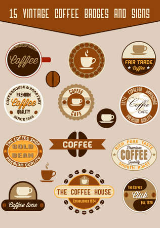 Vintage coffee badges and signs