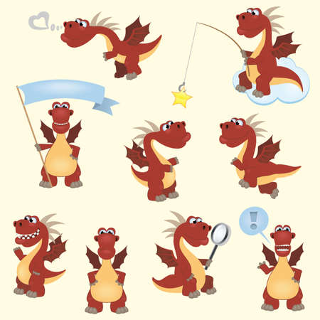 Red cartoon dragon set Vector
