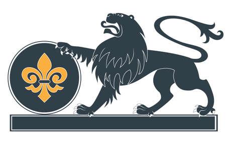 heraldic lion: Heraldic lion silhouette