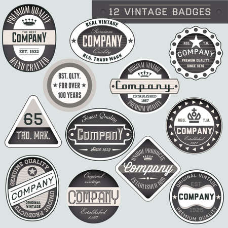 quality seal: Vintage retro badges and labels set