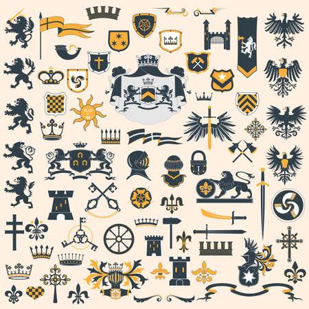 rey medieval: Dise�o de elementos her�ldicos Vectores