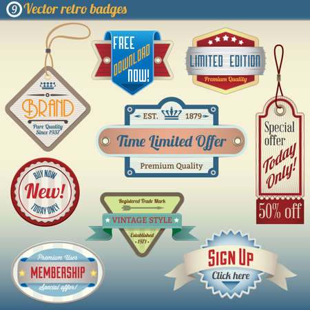 Retro Vintage Badges set Illustration