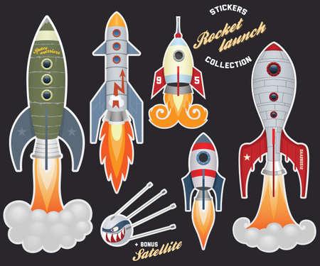 cohetes: Lanzamiento de un cohete (colecci�n de pegatinas)