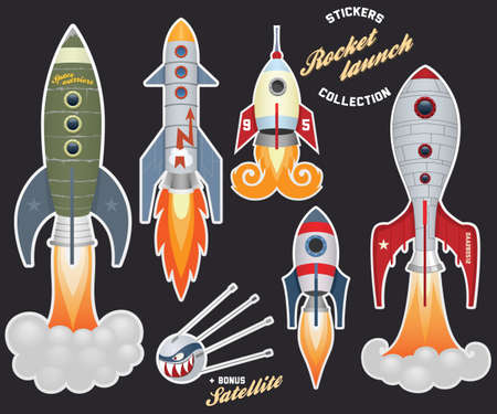 satellite launch: Rocket launch (stickers collection)