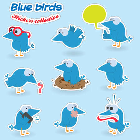 Blue birds (stickers collection) Vector