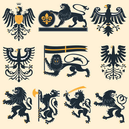 Heraldic lions and eagles set