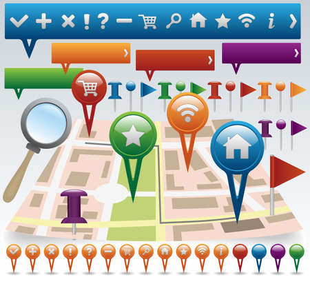 Map and Navigation icon set Vector
