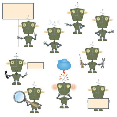 Funny cartoon military robot set Vector