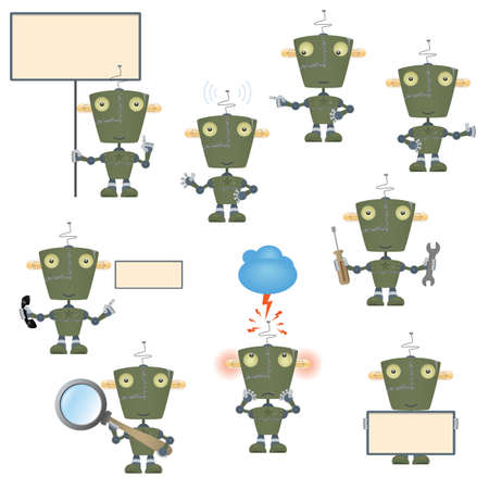 Funny cartoon set robot militar
