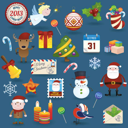 Christmas icons set Vectores