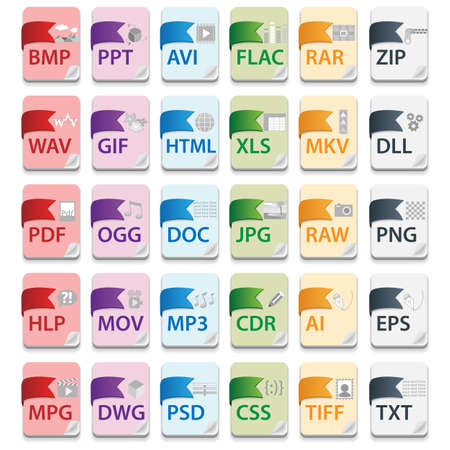 psd: Document file extensions with labels Illustration