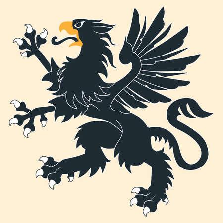 Noir héraldique Griffin Banque d'images - 16100090