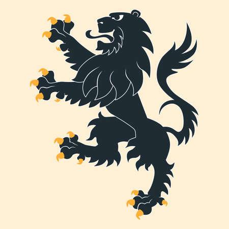Black heraldic lion Vectores
