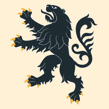 heraldic symbols: Black heraldic lion Illustration