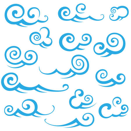 Stylized clouds collection. Vector illustration Vector