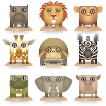 Wild animals icon set Stock Vector - 17356870
