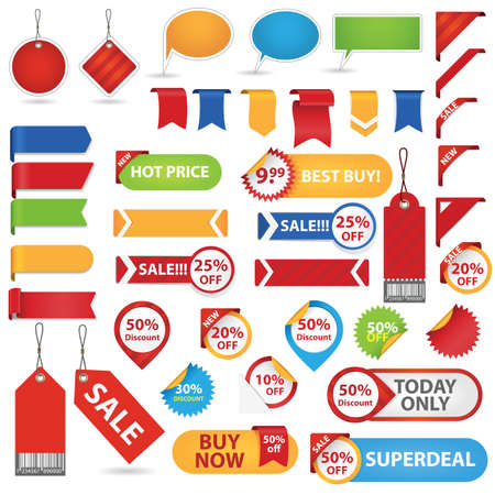 Big Set of Sale Stickers, Labels And Ribbons Vector
