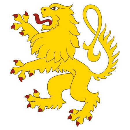 heraldic symbols: Standing heraldic lion Illustration