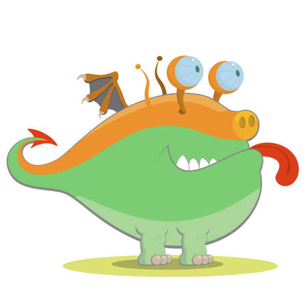 fairytale character: Green monster with little wings Illustration