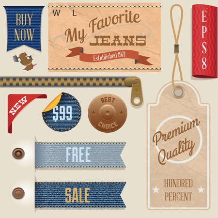 Jeans Labels Set Stock Vector - 18823903