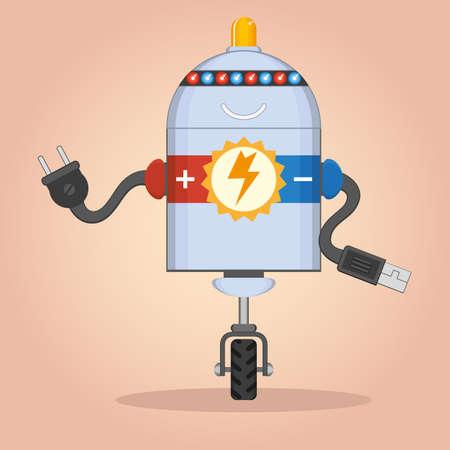 computer program: Charging cartoon robot