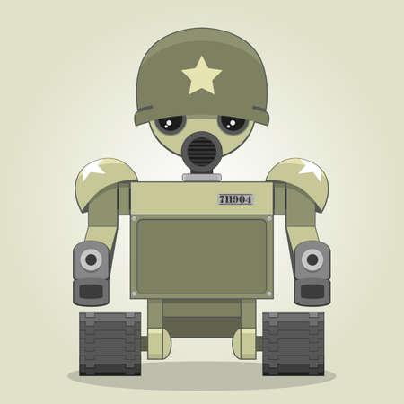 cyborg: Cartoon robot militar con armas de fuego Vectores