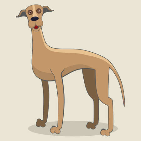 Cartoon illustration of greyhound dog
