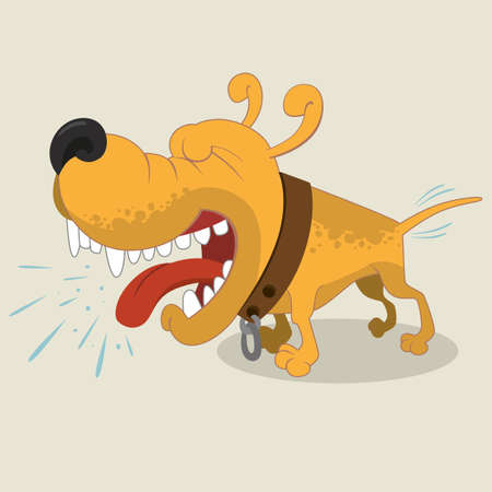 Cartoon illustratie van blaffende Mongrel hond Stock Illustratie