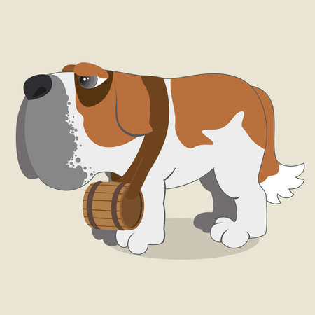 Cartoon illustration of Saint Bernard dog Vector