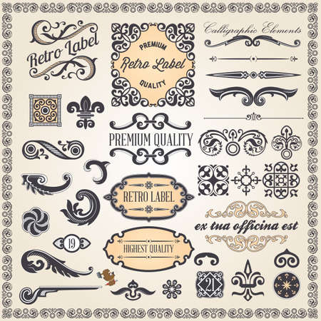 edition: Vintage ornaments and frame, calligraphic design elements and page decoration Illustration