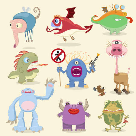 Cartoon monsters collection Vector