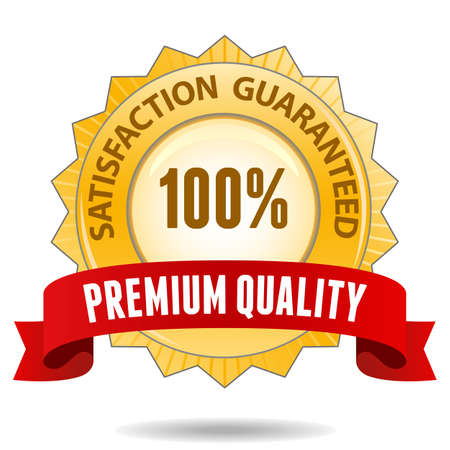 retail sales: 100 percent satisfaction guarantee golden sign with red ribbon Illustration