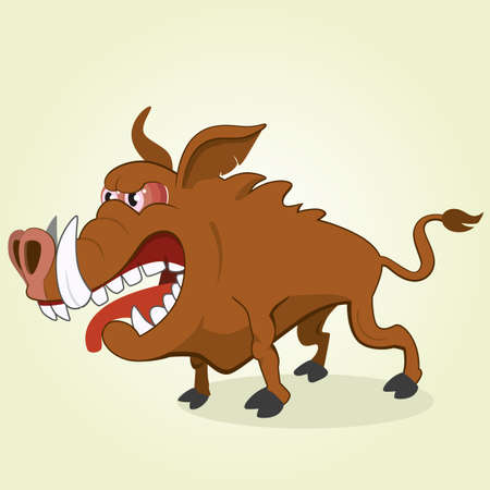 wild hog: Vector Illustration of Cartoon Boar