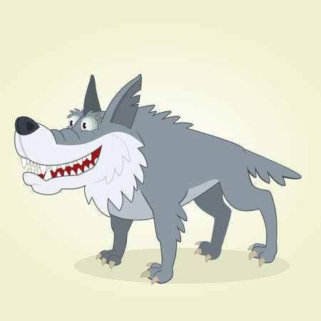 Vector Illustration of Cartoon Wolf Vector