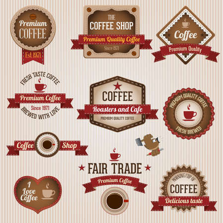 ヴィンテージ レトロなコーヒーのラベルとバッジのセット