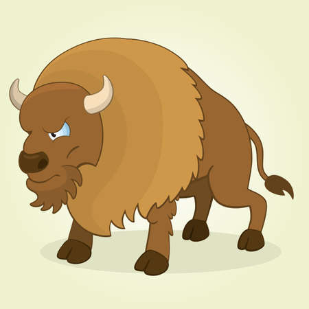Vector Illustration of Cartoon Bison Vector