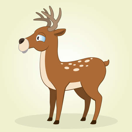 Vector Illustration of Cartoon Little Deer Vector