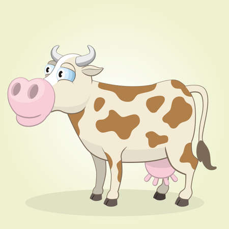 cartoon animal: Vector Illustration of Cartoon Cow
